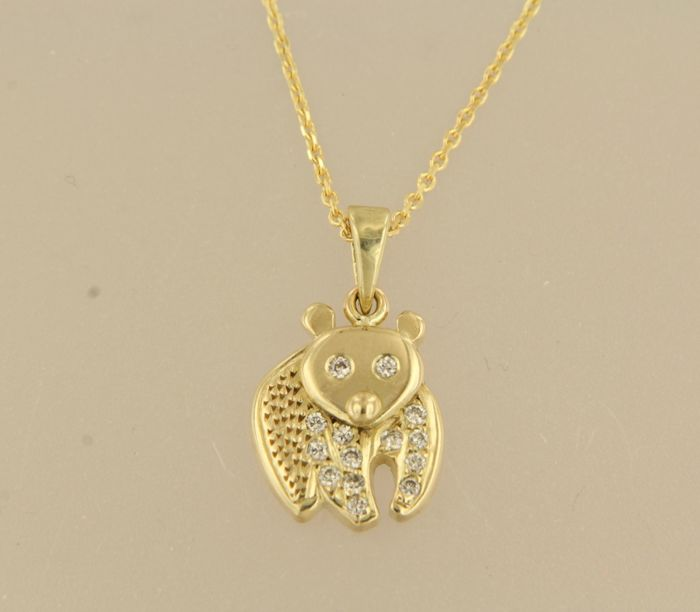 14 kt yellow gold necklace with a pendant in the shape of a bear set with diamonds, approx. 0.14 carat in total