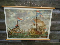 Linen school poster that can be rolled up: 'Court martial for the four days sea battle, 1666 (with manual)
