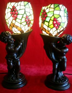 Fabulous set of Art Decó, Tiffany-style table lamps
