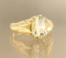 18 kt yellow-gold ring, set with a zirconia - ring size: 19.5 (61)