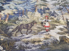 Beautiful vintage pictorial tapestry , second half of the 20th century, France 61 cm x 155 cm,