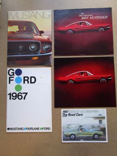 FORD Mustang- Lot of 4 original brochures from 1965 to 1969 and 1  original SHELBY Mustang GT350/500 brochure of 1967
