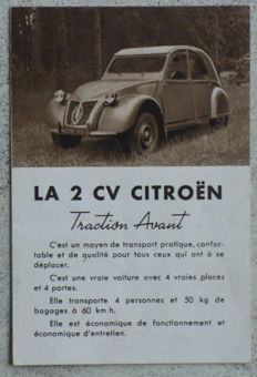 Citroën 2 CV - Rare advertising catalogue from September 1949