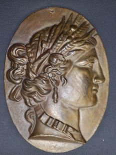 Bronze relief plaque of Demeter, Greek goddess of the crop - early 20th century