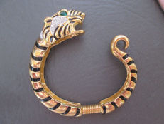 Kenneth J Lane vintage wild animal tiger clamper bracelet