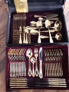 Nivella Solingen - complete 72 piece gold-plated luxury cutlery set - cutlery for 12 people - 23/24 karat - 1000 fine gold - hard gold-plated - unused - in original black box