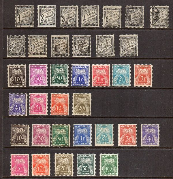 France 1881-1855 - selection of tax stamps - Yvert no. 10 to 21 and 67-89