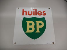 French Huiles BP  -  Original Aluminium Garage Sign - Size 50 cm x 50 cm - with metal eyelets for wall hanging or mounting