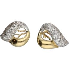 18 kt Bi-colour white/yellow gold ear studs set with diamonds of approx. 0.96 ct in total