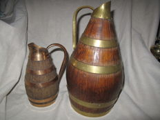 "Two old cider and port jugs, copper and wood - 1 is signed ""Meilleur Ouvrier de France"" France - Normandy region - 19th century"