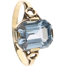 14 k Yellow gold ring set with Aquamarine - Ring size: 16.5 mm
