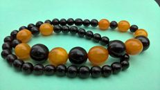 "Antique Amber beads: 100% natural Amber and Jet ""Black Amber, tears of the dragon"" 21 grams"