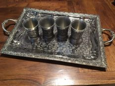 Four Germany Pewter Shot Glass with arabesque tray, ca.1930
