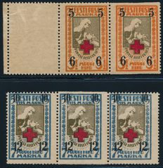 Estonia - 1921 - Red Cross with overprint, 2 1/2 M and 5 M in stripes of 3, one stamp is each case is horizontally perforated Michel 60-61