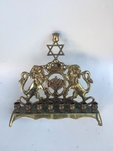 jewish judaica bronze menorah hannukiah polish 20 ct