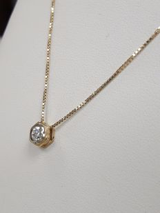 Point of light necklace in 18 kt yellow gold with 0.31 ct round brilliant cut diamond, G/VVS1, no reserve