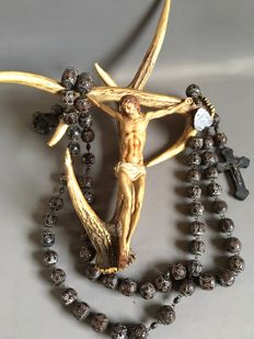 Crucifix of deer antler and wooden nun's cross / rosary Lourdes