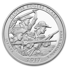 USA - US Mint - America The Beautiful - George Rogers Clark 2017 - Large 5 oz 999 silver coin