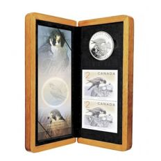 Canada - 5 Dollars 2006 'Peregrine Falcon & Nestlings Coin & Stamp Set' - silver