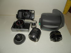 Set of various photo cameras and lenses