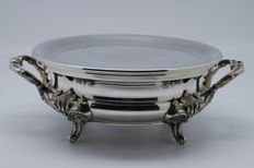 Antique hot-plate from Christofle silversmiths, silver plated metal