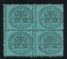 Pontifical, 1868 – Fourblock of 5 cent, light blue, with an exemplary variety without the dot after the digit – Sass. No.  25 + 25h.