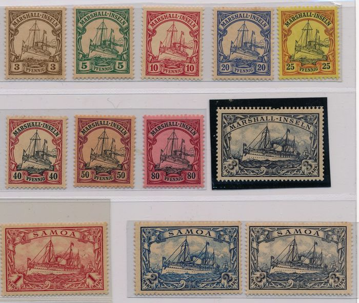 Marshall Islands & Samoa - 1901 - 1916 Kaiser's yacht 3 pfennig to 3 mark
