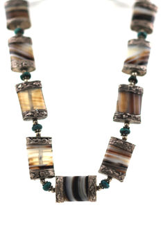 Silver necklace with agate and turquoise handmade 835