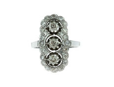 14 kt white gold princess ring set with 23 diamonds - 1.15 ct - ring size 18.25