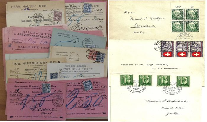 3 Letters of the Postal History in Switzerland + 50 payment receipts