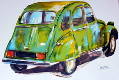 Citroen 2 hp - 35 x 50 cm Watercolour - Gilberto Gaspar