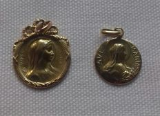 2 18k gold  old Virgin Mary medals