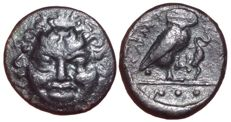 Greek Antiquity - Sicily, Kamarina ca. 420-405 BC - Æ Tetras (Bronze, 16mm, 3.21gm.) - Gorgon's head / Owl - SNG ANS 1221ff;  Westermark and Jenkins 193.3