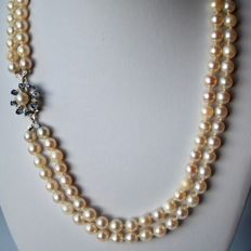 Two-row necklace see / salty Akoya pearls and 14k White gold flower clasp with small sapphires.