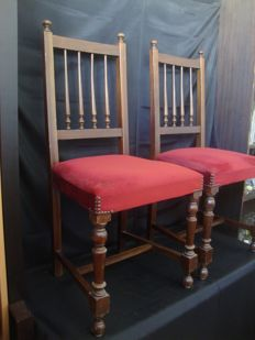 2 Mahogany And Velvet Ceremonial Chairs - Sto Anthony Church - Estoril - Portugal