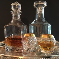 Theresienthal cognac glasses and 2 vintage whiskey carafes, cognac decanter, bar set - mid-century barware
