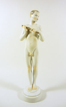 "Herend, Erotic Nude Male with a Flute 10"" - Handpainted porcelain Figurine"