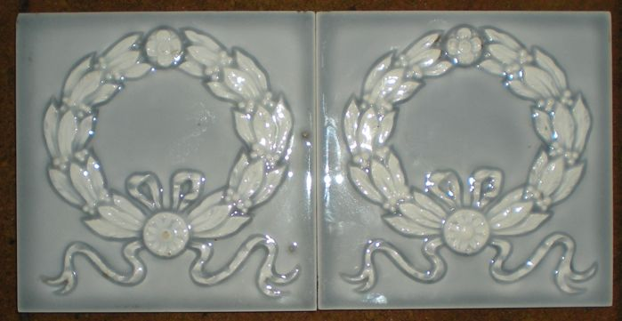 2 Belgian Art Nouveau Tiles with relief and thick glaze