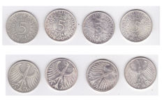 Germany - Complete series, 5 marks 1974, 4 coins - silver