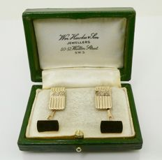 """Early 1900s """"Italian stamped & made"""" initials gold cuff links, no reserve"""