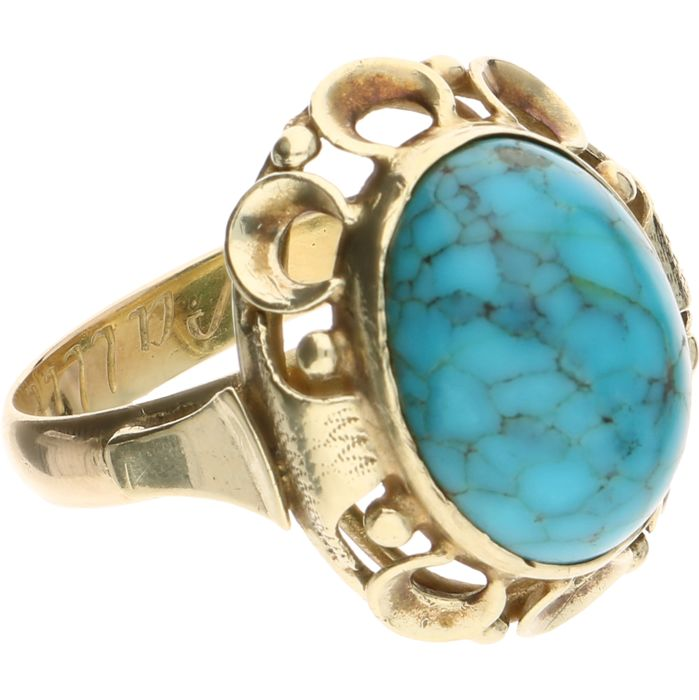 14 kt Yellow gold ring set with natural turquoise - Ring size: 20 mm