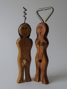 Curio; Set of corkscrew and bottle opener with erotic display - ca 1975/1985