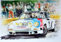 Porsche 911 Race Cars - Watercolor.  35 x 50 cm - Gilberto Gaspar