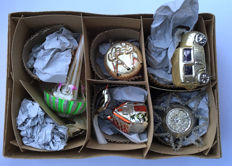 A box full of rare antique Christmas tree baubles