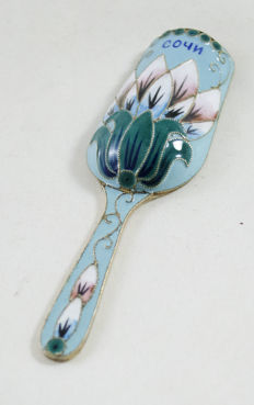 Spoon for serving sugar - 916 silver - enamel - filigree - Sochi - Russia - ca. 1940's