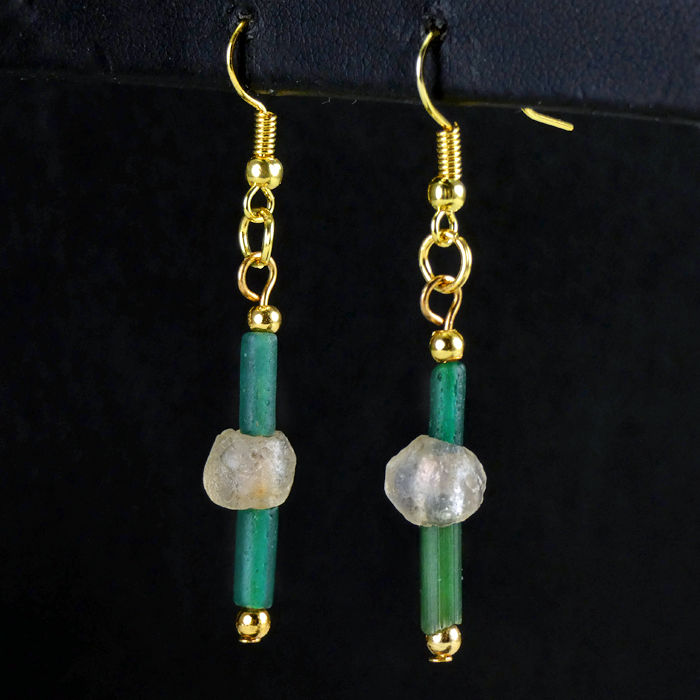 Earrings with Roman green glass beads - jewellery box included