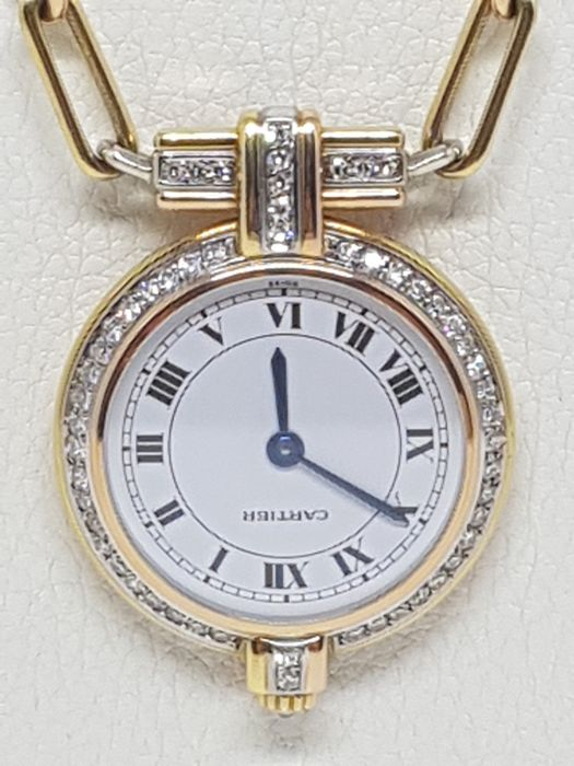 Cartier – Necklace with watch pendant -  18K Yellow, White & Rose Gold - Set with Diamonds