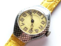 France - outstanding wedding watch - silver case with black and silver checkered - yello dial -  circa 1900-1910.
