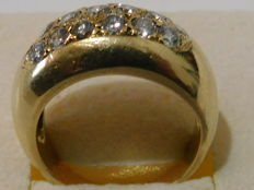 Bangle ring set with 19 diamonds for 1.5 ct and a weight of 8 grams. Finger size 17.8 mm (56 FR).