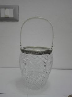 Imperial style ice bucket in cut crystal and silver